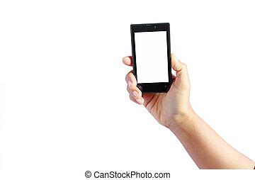 mobile, écran, main, téléphone, femme, vide