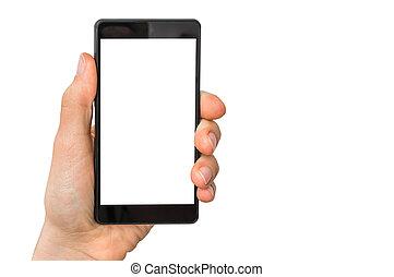 mobile, écran, main, téléphone portable, femme, vide, blanc