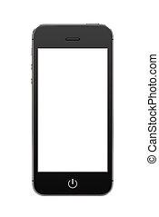 mobile, écran, moderne, téléphone, noir, vide, intelligent