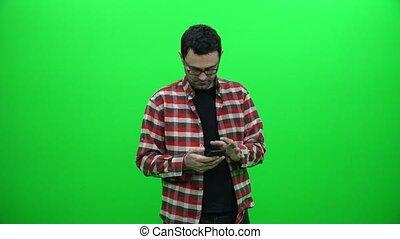 mobile, écran, téléphone, arrière-plan vert, utilisation