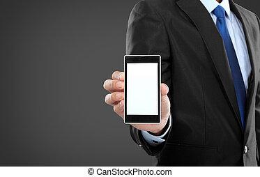 mobile, écran, téléphone, tenue, vide, homme affaires, ...