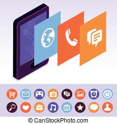 mobile, écrans, vecteur, interface, téléphone