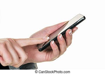 mobile, écrit, sms