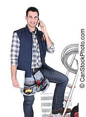 mobile, électricien, échelle, tenu, téléphone