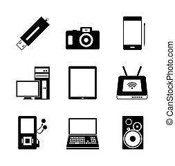 mobile, électronique, icônes