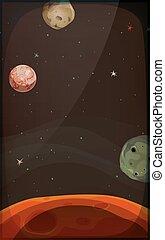 mobile, étoiles, fond, planètes, espace