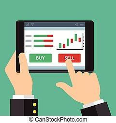 mobile, étranger, commerce, échange