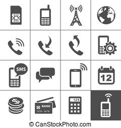 Mobile account management icons. Simplus series. Vector...