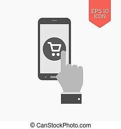 mobile, achats, concept, icon., plat, conception, gris, couleur, symbole., moderne, ui, navigation web, signe.