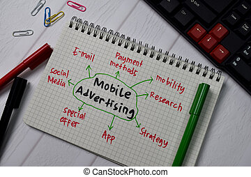 Mobile Advertising write on a book with keywords isolated on wooden table.
