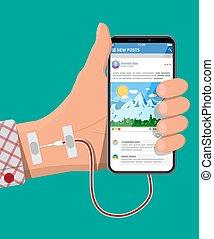 mobile, aiguille, main, téléphone, connecté, intelligent