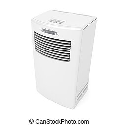 Mobile air conditioner on white background