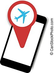 Vector symbol smartphone with airplane red icon