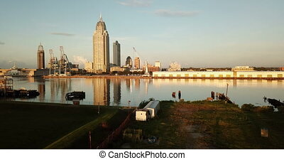 Mobile Alabama Downtown City Skyline Gulf Coast Seaport -...
