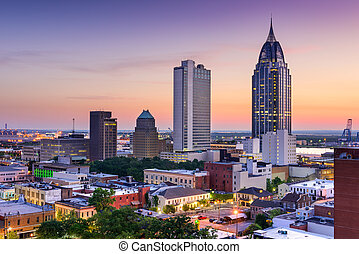Mobile Alabama Skyline - Mobile, Alabama, USA downtown...