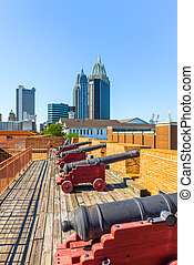 Mobile, Alabama, USA skyline and fort.