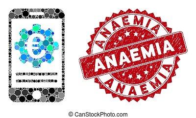 mobile, anémie, configuration, grunge, collage, banque, euro, cachet