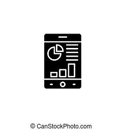 Mobile analytics black icon concept. Mobile analytics flat  vector symbol, sign, illustration.