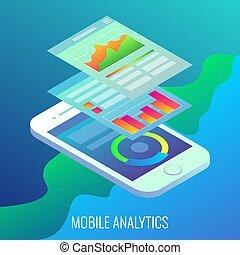 Mobile analytics concept vector flat isometric illustration