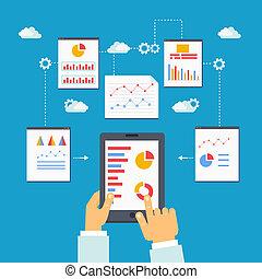 mobile, analytics, optimization, vettore, illustrazione