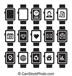 Smart Watch Icon Set. - Mobile and Smart Watch Icon Set. ...
