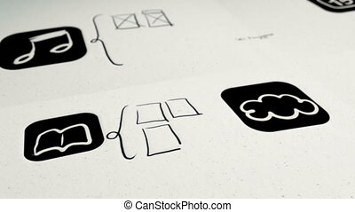 Animation showing the prototyping stage of a mobile application design process.