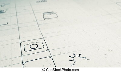 Animation showing a variety of generic mobile app icons being drawn on paper.