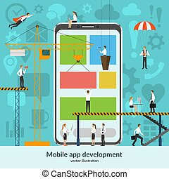 Mobile app development concept. Vector illustration in flat style.