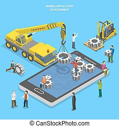Mobile app development flat isometric vector conceptual ...