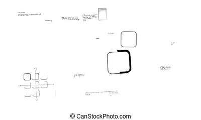 Animation showing a variety of mobile app development scribblings being drawn.