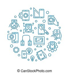 Mobile app Development vector round outline illustration