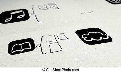 mobile, app, disegno, e, costruire