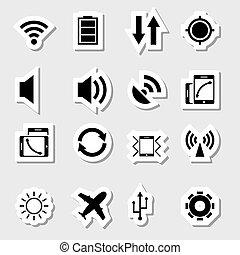 mobile, app, etichette, icone
