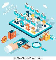 Mobile app for email marketing. Manage mailing from your smartphone or tablet pc. Technology development, social and envelope, buy market, vector illustration