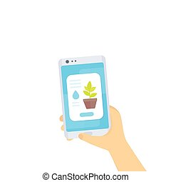 Mobile app for home plants, smartphone in hands