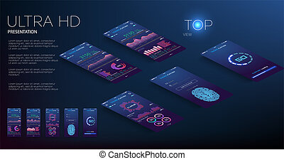 Mobile app infographic template with modern design weekly and annual statistics graphs. Pie charts, workflow, web design, UI elements. Vector