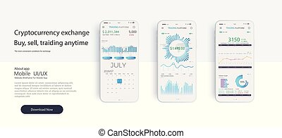 Mobile app infographic template with modern design weekly and annual statistics graphs.