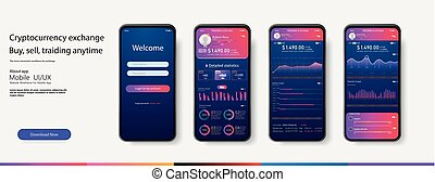 Mobile app infographic template with modern design weekly and annual statistics graphs. Pie charts, workflow, web design, UI elements. Vector EPS 10