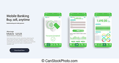 Mobile app infographic template with modern design weekly and annual statistics graphs. Pie charts,