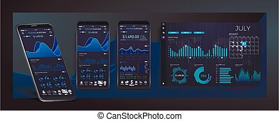 Mobile app infographic template with modern design weekly and annual statistics graphs.UI UX design app cryptocurrency wallet.