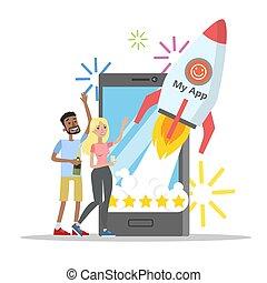 mobile, app, lancement