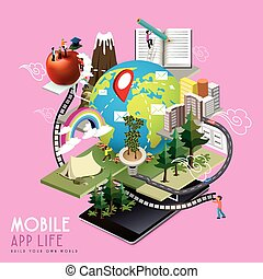 mobile app life concept in 3d isometric flat design