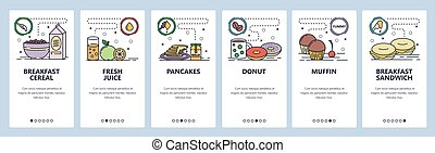 Mobile app onboarding screens. Breakfast meal, morning food, donut and coffee, fresh juice, pancakes. Menu vector banner template for website and mobile development. Web site design flat illustration