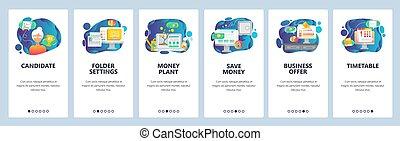 Mobile app onboarding screens. Business offer, money tree, schedule and deadline. Menu vector banner template for website and mobile development. Web site design flat illustration.