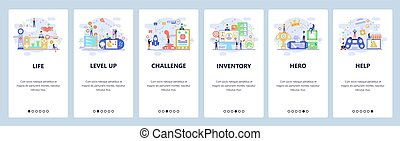 Mobile app onboarding screens. Cybersport, computer games, VR console, video game controller. Menu vector banner template for website and mobile development. Web site design flat illustration