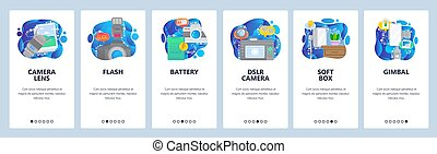 Mobile app onboarding screens. Digital photo camera and flash, photography, lens, gimbal. Menu vector banner template for website and mobile development. Web site design flat illustration.