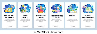 Mobile app onboarding screens. Eco-friendly packaging, recycling, water conservation, biofuel. Menu vector banner template for website and mobile development. Web site design flat illustration.