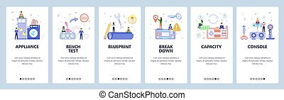 Mobile app onboarding screens. Gaming console, home appliances, battery charge, portable electronic toy. Vector banner template for website and mobile development. Web site design flat illustration
