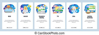 Mobile app onboarding screens. Hotel service, bed, room, maid, search hotel and booking, spa, rating. Menu vector banner template for website and mobile development. Web site design flat illustration