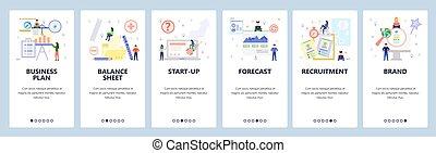 Mobile app onboarding screens. Job recruitment, financial ...